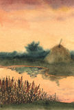 Watercolor landscape. Stock of hay on the lake Royalty Free Stock Photography