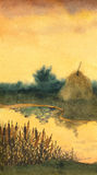 Watercolor landscape. Stock of hay on the lake Royalty Free Stock Photo
