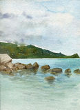 Watercolor landscape with stones at sea shore Royalty Free Stock Photo