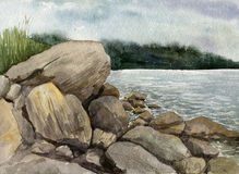 Watercolor landscape with stones at sea shore Royalty Free Stock Photography
