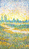 Watercolor landscape in style of pointillism Stock Photography