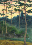 Watercolor landscape. A summer evening in a pine forest stock illustration