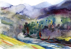 Watercolor landscape. Summer forest under mountains near lake Stock Photos