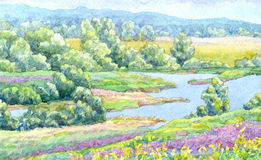Watercolor landscape. Summer river in the meadows of the valley Stock Photography