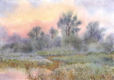 Watercolor landscape. Sunrise over the woods and meadows around. Watercolor landscape. Morning mist over the forest and meadows around the lake Stock Photography