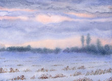 Watercolor landscape. Sunset over the winter steppe. Watercolor landscape. Cloudy sunset over the winter the snow-covered steppe vector illustration