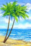 Watercolor landscape. Tall palms on a sandy beach Stock Photo