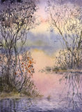 Watercolor landscape. Thickets on the islets of a quiet lake Royalty Free Stock Photo