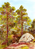 Watercolor landscape with tourists tent - camping in forest Royalty Free Stock Images