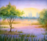 Watercolor landscape. Tree at lake. Colorful bright hand drawn watercolour sketch drawing on paper backdrop with space for text on gloaming heaven. Quiet gentle Royalty Free Stock Image