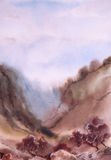 Watercolor landscape. Tree, ravine, slope, mountains Royalty Free Stock Photo