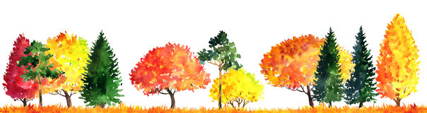 Watercolor landscape with trees Royalty Free Stock Photography