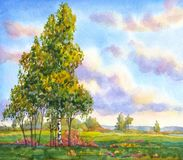 Watercolor landscape. The trees in the evening field. Colorful bright hand drawn watercolour sketch drawing on paper backdrop with space for text on glowing Stock Photo