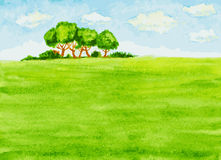 Watercolor landscape with trees, green field and sky Royalty Free Stock Photo