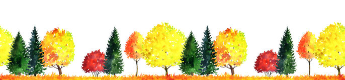 Watercolor landscape with trees Stock Photography