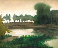 Watercolor landscape. Trees on the shore of quiet lake Stock Photography