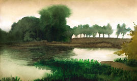 Watercolor landscape. Trees on the shore of quiet lake Stock Images