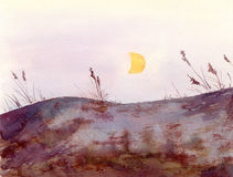 Watercolor - landscape view with rocks hill, grass and moon Royalty Free Stock Photos