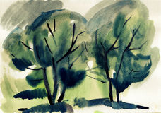 Watercolor landscape Royalty Free Stock Photos