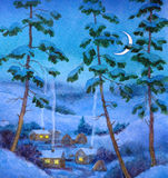 Watercolor landscape. Winter night at village Stock Photo