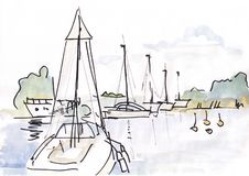 Yachts at the coast. Watercolor landscape, yachts at the coast vector illustration