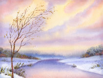 Watercolor landscape. Yellowed tree over snow-covered lake Royalty Free Stock Photography