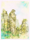 Watercolor Landscape of Zhangjiajie National Forest Park Stock Image