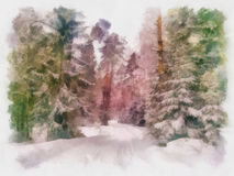 Watercolor landscapes. Beauty world. Fantastic evening winter landscape. Beauty world. Watercolor Royalty Free Stock Images