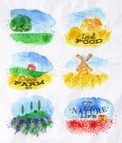 Watercolor landscapes symbols Stock Photo