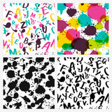 Watercolor latin alphabet, splashes and stains. Stock Images