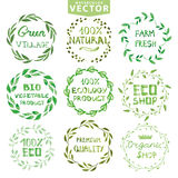 Watercolor laurels wreath set.Vintage floral frame Royalty Free Stock Image
