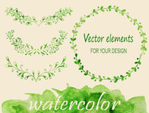 Watercolor laurels and wreaths Royalty Free Stock Images