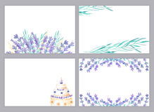 Watercolor lavender card templates Stock Images