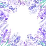 Watercolor lavender flowers on a white background. Round floral frame. Invitation, greeting card or an element for your design. Floral background with  lavender Stock Image