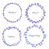 Watercolor Lavender flowers wreath isolated on white background, Round colorful frame, hand drawn sketch herbal vintage silhouette. Set, design for greeting Stock Photography