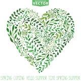watercolor Le vert s'embranche composition en coeur Fond illustration stock