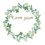 Watercolor Leaf and Flowers round frame. Royalty Free Stock Images