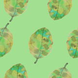 Watercolor leaf pattern. Watercolor seamless pattern. Painted by hand. Vector pattern royalty free illustration