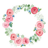 Watercolor Leaf and Roses round frame. Royalty Free Stock Photo