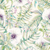 Watercolor leaf seamless pattern with ferns and flowers Stock Images