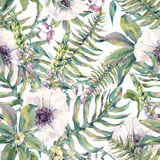 Watercolor leaf seamless pattern with ferns and flowers. Tropical watercolor leaf seamless pattern with ferns and flowers lupine, anemones, botanical natural Royalty Free Stock Images