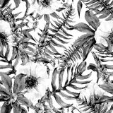 Watercolor leaf seamless pattern with ferns and flowers. Tropical monochrome watercolor leaf seamless pattern with ferns and flowers lupine, anemones, botanical Stock Photography