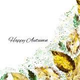 Watercolor leaf  on white background, hand drawn border, Decorative frame, paint illustration, autumn corner, design for b Royalty Free Stock Photo