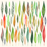 Watercolor leafs set. Vector set of watercolor leafs. Isolated nature elements, grouped by objects Stock Photography