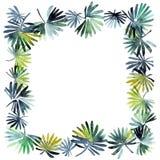 Watercolor leafy frame Stock Photos