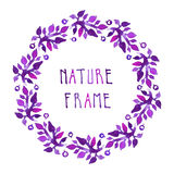Watercolor leaves and berries vector frame with handwritten cursive text. (circle in purple colors Stock Images