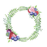 Watercolor leaves and berries wreath Stock Image