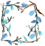 Watercolor leaves and branch background Stock Photo