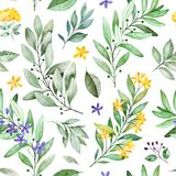 Watercolor leaves branch seamless pattern on white background. Texture with greens,branch,leaves,flowers,foliage.Perfect for wedding,cover design,wallpapers vector illustration