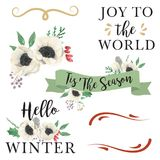Watercolor Leaves Floral Winter Christmas Tis The Season Berries Banners. Hand Painted Watercolor Christmas Leaves and Festive Berries Banners Royalty Free Stock Photos